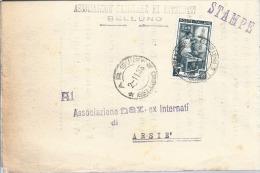 1953 Piego Tariffa Stampe L. 5 Italia Al Lavoro - Uso Singolo Da Belluno - 1946-.. République