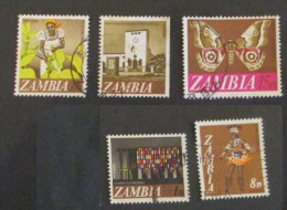 Zambia 1968 Lot 5 Stamps Used Tobacco Museum Batterfly Cathedral Dancer - Zambia (1965-...)