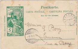 SUISSE ENTIER POSTAL CARTE  POSTALE 1900 SAVAGNIER A LAUSANNE - Entiers Postaux