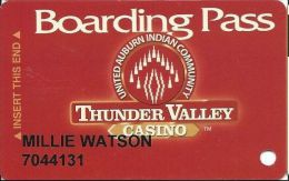 Thunder Valley Casino Lincoln CA - Slot Card Copyright 2003 No Signature Strip - Casino Cards