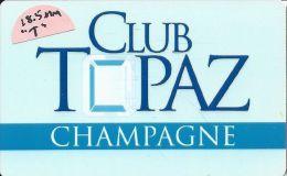 Topaz Lodge Casino Gardnerville NV - BLANK Slot Card - T In Topaz 18.5mm High, Indented Paragraphs - Casino Cards