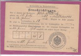 CARTE DE PENSIONSKASSE DER REICHSEISENBAHNEN  STRASBURG -1916 - Maps