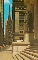CPSM New York City-Trinity Church Looking Down Wall Street   L2068 - Wall Street