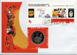 PAYS-BAS Bf52 FDC + Numisletter Numisbrief ECU 1er Jour Willy WANDERSTEEN Bob Bobette Suske Wiske Jal Tintin Hergé - Stripsverhalen