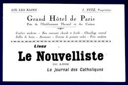 73 AIX LES BAINS Grand Hôtel De Paris - Lisez Le Nouvelliste De Lyon, Le Journal Des Catholiques - Etiketten Van Hotels