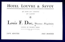 HOTEL LOUVRE & SAVOY En Face Les Jardins Du Casino - Etiquettes D'hotels