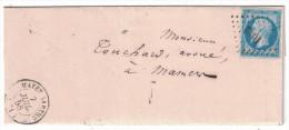 1858 Lettre LSC Affranchie Napoléon N°14 Obliteration Cad PC 1942 De Mayet-Sarthe Pour Mamers - 1849-1876: Periodo Classico