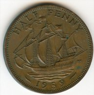 Grande-Bretagne Great Britain 1/2 Half Penny 1959 KM 896 - C. 1/2 Penny