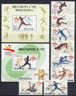 North Korea 1991 Olympic Games Barcelona Set Of 8 + 2 S/s MNH - Summer 1992: Barcelona