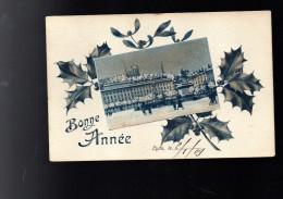 LYON CARTE DE BONNE ANNEE AVEC PLACE BELLECOUR  CIRCULEE 1909 - Lyon