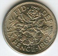 Grande Bretagne Great Britain 6 Pence 1962 KM 903 - H. 6 Pence