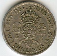 Grande Bretagne Great Britain 1 Florin 2 Shillings 1948 KM 865 - J. 1 Florin / 2 Schillings