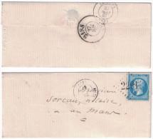 1867 Lettre LSC Avec GC 2291 De Mayet-Sarthe + Cad Bureau De Passe 2188 Le Mans Napoléon N°22 Pour Le Mans - Postmark Collection (Covers)