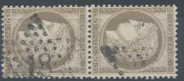 Lot N°30625 Variété/Paire Du N°56, Oblit étoile Chiffrée 18 De PARIS ( R. De Londres ),Fond Ligné 1e Timbre, Filet NORD - 1871-1875 Cérès