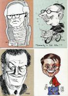 Bretagne - Michel Deligne - Lot De 4 Cartes (Ch. Tillon, A. Madelin, O. Guichard, R. Pléven) ; Dédicacées. - Autres Illustrateurs