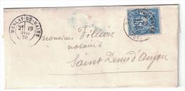 1878 LSC Avec Belle Obliteration Cad MESLAY DU MAINE Sur Type Sage N°90 Pour Saint Denis D'Anjou - 1877-1920: Periodo Semi Moderno
