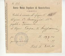 1882 BANCA MUTUA POPOLARE Di MONTEBELLUNA-cedola Riscontro ASSEGNO-e569 - Assegni & Assegni Di Viaggio