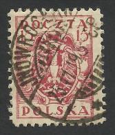 Poland, 15 F. 1919, Sc # 97, Mi # 104, Used, Jnowroclaw - 1919-1939 République