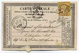 Carte Précurseur ( CPO) / T17 NUITS COTE D'OR + Losange GC 2706 / Dept 20 Côte D'Or / 13 Janvier 1876 - 1849-1876: Classic Period