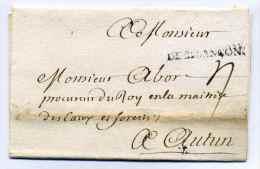 MP  DE BESANCON  /  4 Avril 1727 / Dept Du DOUBS / Cachet De Cire Complet Au Verso - Marcophilie (Lettres)
