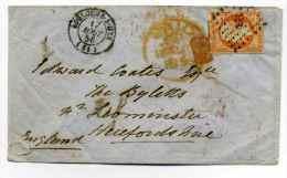 T15 BOULOGNE SUR MER Pour LEOMINSTER ( England ) / 1856 /  YT N°16 + Cad Anglais PAID - 1849-1876: Période Classique