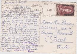 Yvert 1008 Saint Simon Sur Carte De Saumur 1955 - Poststempel (Briefe)
