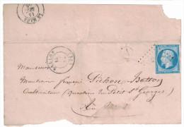 1858 Grand Fragment De Lettre Avec PEU COURANTE Obliteration PC 243 De Ballon Sarthe Sur Napoléon N°14 + Boite Rurale - 1853-1860 Napoleon III