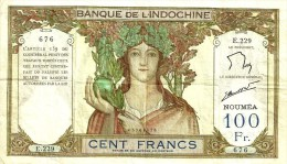 NEW CALEDONIA 100 FRANCS BROWN WOMAN HEAD FRONT MOTIF BACK NOT DATED(1937) P42e 5TH SIG VARIETY VF+ READ DESCRIPTION!! - Nouvelle-Calédonie 1873-1985