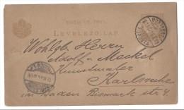 Entier Postal Hongrie - Budapest Pour Karlsruhe - 1916 - Postal Stationery