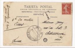 Carte Postale De Irun Pour Chateauroux - 1907 - Affranchie Par Semeuse 10cts - Cachet T - Poststempel (Briefe)