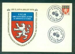 6ème Championnat De France Triplettes Lyon 1976 Sur CP.