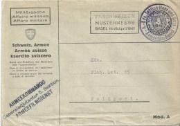 """Feldpost Brief  """"Armee Filmdienst Basel""""             1941 - Military Post"""