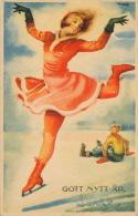 """SUEDE - SWEDEN - Jolie Carte Fantaisie Femme Sur Patins à Glace De Bonne Année """"GOTT NYTT AR """" Signée ARTELIUS - Suède"""