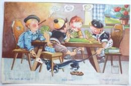 Litho Illustrateur MINOUVIS N° 7 HUMOUR Garcon Tricheur Jeu De Cartes Cigarette Chien Basset Teckel - Cartes à Jouer