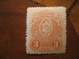 1912 SALTA 3 Pesos Ley De Guias Revenue Fiscal Tax Postage Due Official Argentina - Service