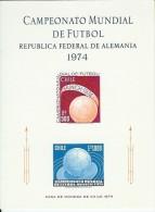Chile 1974 World Championship Football, Soccer, Mi Souvenir Bloc With 804-805 MNH(**) - Coppa Del Mondo
