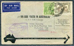 1934 Australia - New Zealand Adelaide - Auckland Faith In Australia First Flight Cover - Storia Postale
