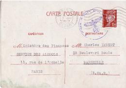 Entier Postal 1,20F Petain Avec Oblitération Violette Allemande - Poststempel (Briefe)