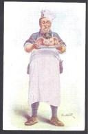 A. WEBER - Cuisinier Portant  Tête De Cochon Avec Casque à Pointe ( 2 Scans , Pub Au Dos ) - Humoristiques