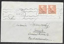 1947 Sweden Kalmar (18.8.47) To Czechoslovakia - Suède