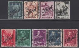 SUISSE 1942 9 TP Service Série Historique Y&T Service N° 194 à 202 Oblitéré - Servizio