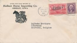 346/24 - USA CHEVAL - Lettre Illustrée GREELEY Iowa 1937 - Holbert Horse Importing Co - Farm