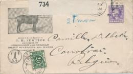 347/24 - USA CHEVAL - Lettre Illustrée GALESBURG Ill. 1919 - J. Justice Importer Of Percheron And Belgian Stallions - Farm