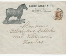 348/24 - Belgique CHEVAL - Lettre Illustrée 1927 Delbeke § Fils , Marchand De Chevaux à COURTRAI (KORTRIJK) - TP Houyoux - Farm