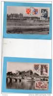 Paire Croix Rouge 1953-*N°966-7 Sur 2 Cpa Gien +complément Affr-ayant Voyagé - 1954 TTB Cote 20 Eur - France