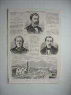 GRAVURE 1863. INAUGURATION DE L'USINE A GAZ DE NAPLES. M. EUGENE PELLETAN. M. CH. CHRISTOFLE. M. JEAN-JOSEPH LENOIR..... - Estampes & Gravures