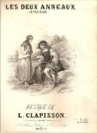 LITHOGRAPHIE SINGELEE LES DEUX ANNEAUX PARTITION MUSICALE PAROLES DE PONCHARD MUSIQUE DE L. CLAPISSON - Lithografieën