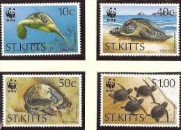 SAINT CHRISTOPHE, ST KITTS WWF, TORTUES Yvert N 812/15 ** Neuf Sans Charniere. MNH. - W.W.F.