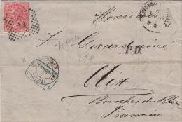 Lettre CD Livorno Pour La France >> CaD Italie AMB. Marseille H 1869 - 1861-78 Victor Emmanuel II.