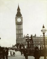 UK Londres Westminster Tour De L Horloge Big Ben Animée Ancienne Photo Instantanée Amateur 1900 - Places